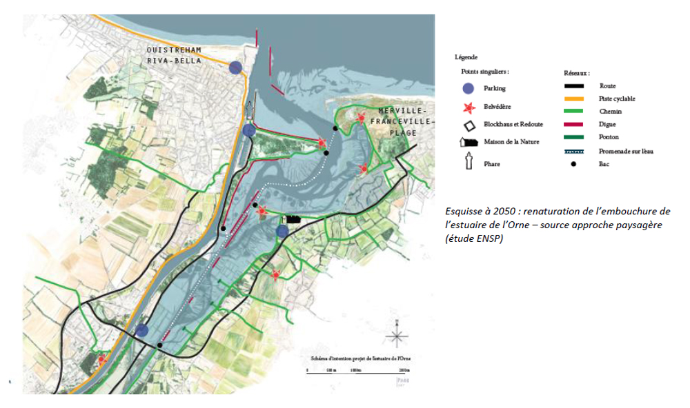 Sketch Study at 2050 - Renaturation of the mouth of the Orne Estuary